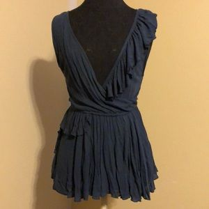 Free People Navy Peplum Top